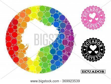 Vector Mosaic Lgbt Map Of Ecuador With Round Blots, And Love Grunge Stamp. Stencil Circle Map Of Ecu