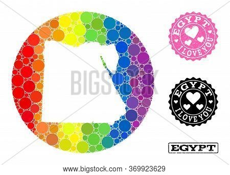 Vector Mosaic Lgbt Map Of Egypt With Circle Items, And Love Grunge Seal. Subtraction Round Map Of Eg