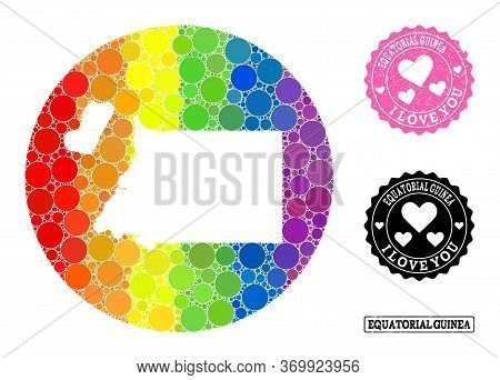 Vector Mosaic Lgbt Map Of Equatorial Guinea With Circle Elements, And Love Grunge Stamp. Stencil Rou