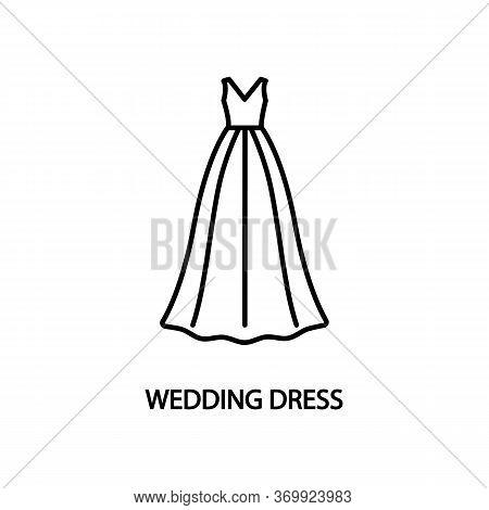Wedding Dress Line Flat Icon. Evening Long Dress A-line Silhouette