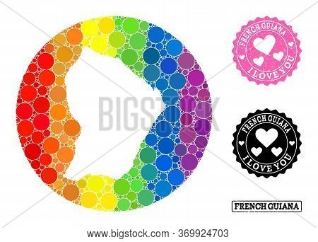 Vector Mosaic Lgbt Map Of French Guiana With Circle Blots, And Love Grunge Seal Stamp. Stencil Circl