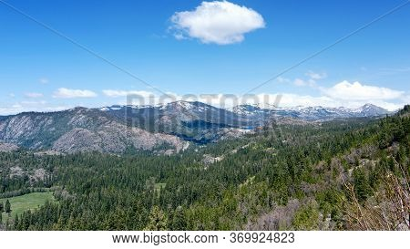 Panoramic View Of The Sierra Nevada From Highway 80 Westbound Past Donner Summit, California, Usa, I