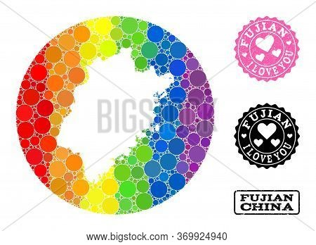 Vector Mosaic Lgbt Map Of Fujian Province With Round Spots, And Love Rubber Stamp. Hole Round Map Of