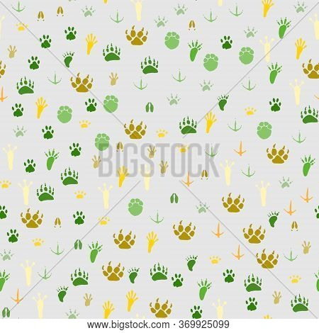 Seamless Pattern With Traces Of Various Animals And Birds Isolated On A Light Gray Background. Warm