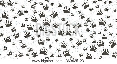 Seamless Pattern With Traces Of Wild Animals Isolated On A White Background. Dark Traces Of A Bear.