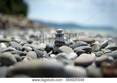 Small Stone Cairn Tower, Poise Stones, Rock Zen Sculpture, Light Grey Pebbles