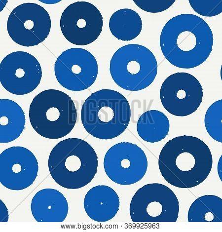 Polka Dot Paint Brush Seamless Pattern. Freehand Grunge Design Background. Circle Ornament. Handdraw