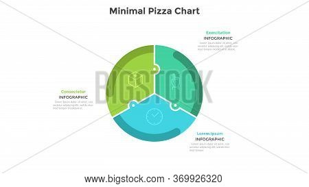 Pizza Chart Divided Into 3 Colorful Jigsaw Puzzle Pieces Or Sectors. Concept Of Three Parts Of Start