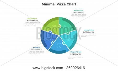 Pizza Chart Divided Into 5 Colorful Jigsaw Puzzle Pieces Or Sectors. Concept Of Five Parts Of Startu