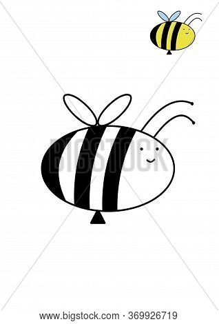 Children's Coloring Bee. Doodle Bee. Illustration On The Theme Of Insects. World Bee Day.