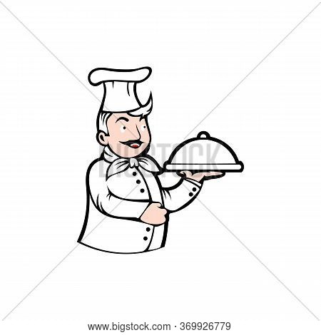 Chef Man Testing Food Logo Vector Illustration, Chef Silhouette, Vector Object For Labels And Badges