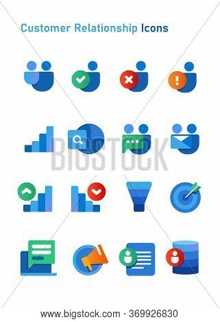 Crm Customer Relationship Icons Set Collection Blue Color White Isolated Background Object Of Funnel