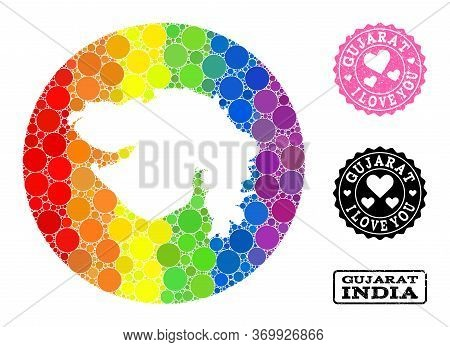 Vector Mosaic Lgbt Map Of Gujarat State Of Round Spots, And Love Rubber Seal Stamp. Subtraction Roun