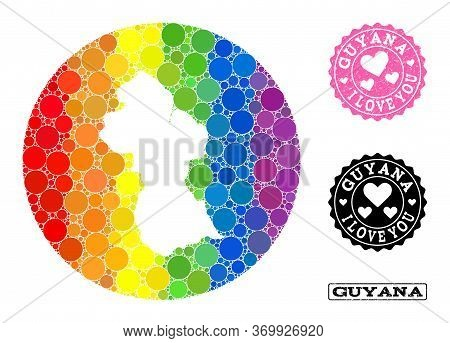 Vector Mosaic Lgbt Map Of Guyana Of Round Dots, And Love Grunge Seal Stamp. Stencil Round Map Of Guy