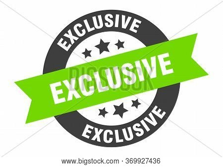 Exclusive Sign. Exclusive Black-green Round Ribbon Sticker