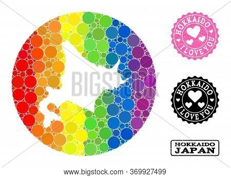 Vector Mosaic Lgbt Map Of Hokkaido Island From Spheric Elements, And Love Grunge Stamp. Hole Circle
