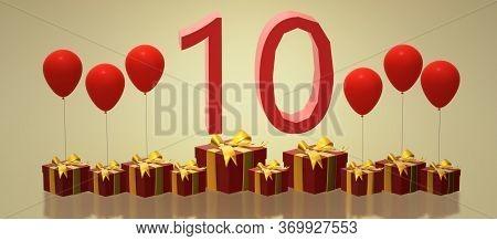Birthday 10. 3d Image Birthday. 10 Years. Gifts And Balls. 10th Anniversary Rotating Card.