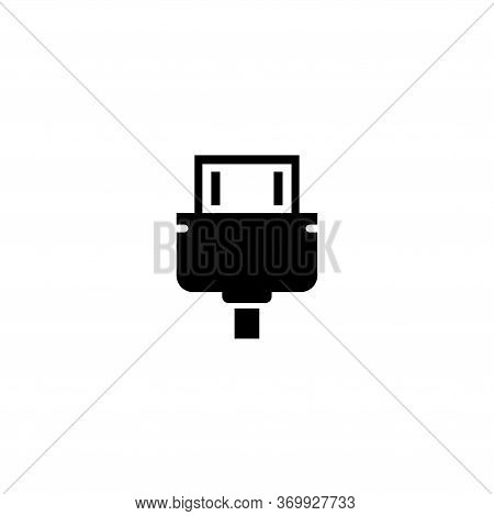 Hdmi Cable, Video Audio Plug Connect. Flat Vector Icon Illustration. Simple Black Symbol On White Ba