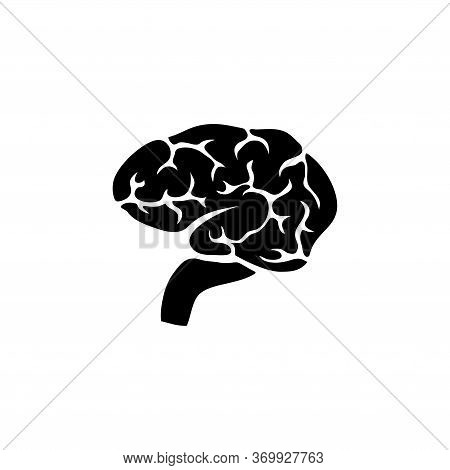 Brain, Human Mind Organ, Anatomy, Intellect. Flat Vector Icon Illustration. Simple Black Symbol On W