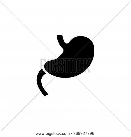 Stomach, Human Digestive Organ, Anatomy. Flat Vector Icon Illustration. Simple Black Symbol On White