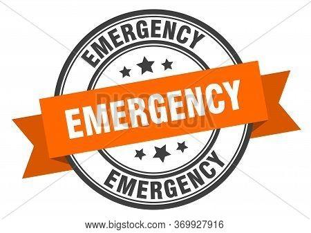 Emergency Label. Emergencyround Band Sign. Emergency Stamp