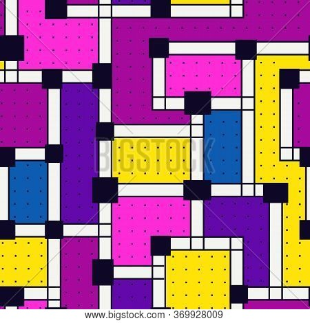 Geometric Seamless Pattern. Bauhaus Style Background. Bright Modern Mosaic Print. Aymmetric Childish