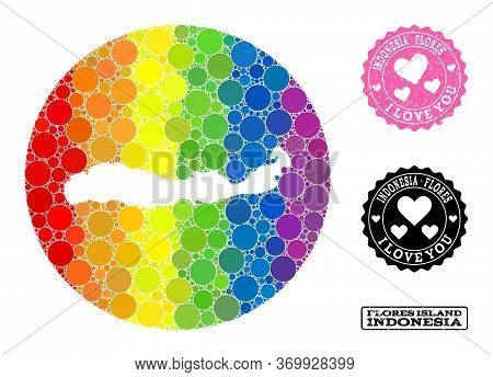 Vector Mosaic Lgbt Map Of Indonesia - Flores Island With Round Spots, And Love Scratched Stamp. Subt