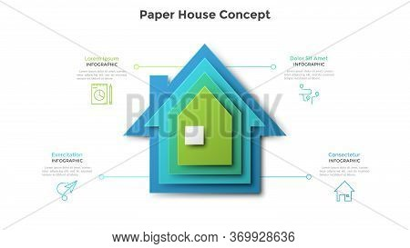 House Made Of Four Colorful Paper Elements Placed One On Another. Concept Of 4 Stages Of Real Estate
