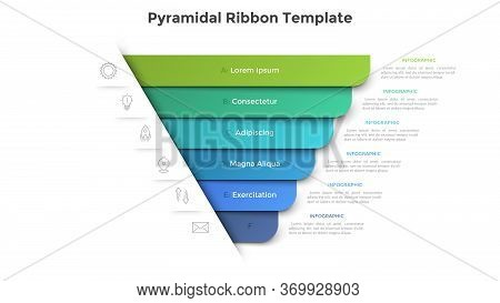 Pyramidal Diagram With Six Colorful Paper Ribbon Elements. Concept Of 6 Business Options To Choose.