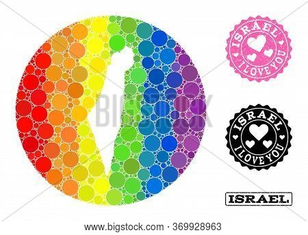 Vector Mosaic Lgbt Map Of Israel With Spheric Spots, And Love Rubber Stamp. Subtraction Round Map Of