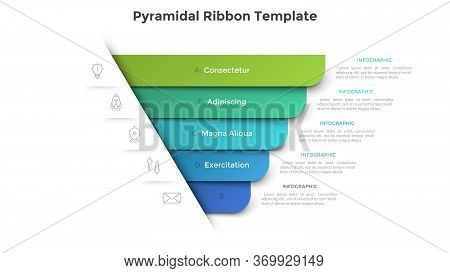 Pyramidal Diagram With Five Colorful Paper Ribbon Elements. Concept Of 5 Business Options To Choose.