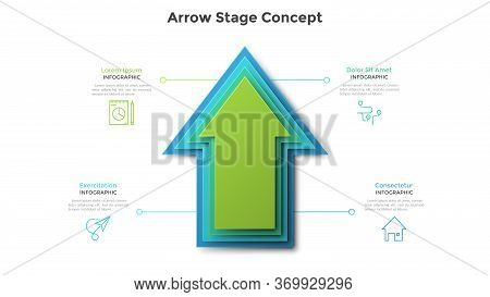 Upward Pointing Arrow Made Of Four Colorful Paper Elements Placed One On Another. Concept Of 4 Stage