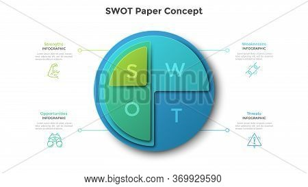 Round Swot Diagram Made Of 4 Paper Elements Placed One On Another. Concept Of Strengths, Weaknesses,