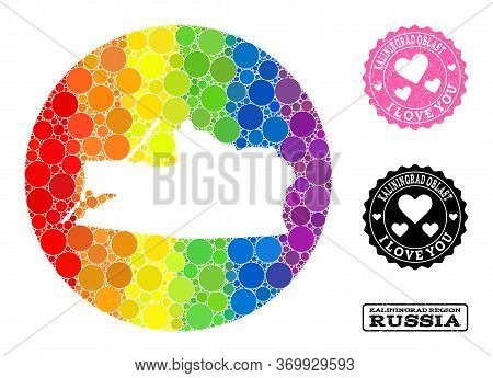 Vector Mosaic Lgbt Map Of Kaliningrad Region Of Round Items, And Love Scratched Stamp. Subtraction R