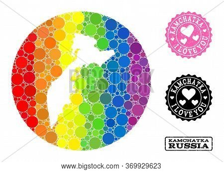 Vector Mosaic Lgbt Map Of Kamchatka Peninsula Of Circle Dots, And Love Scratched Stamp. Stencil Roun