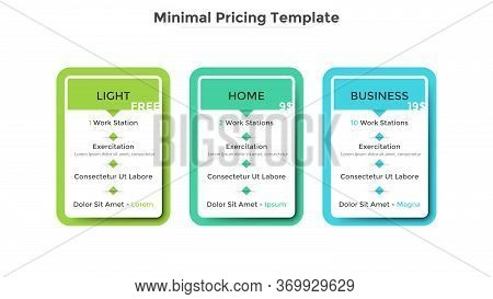 Three Rectangular Pricing Tables Or Subscription Plans To Choose With List Of Included Features. Lig