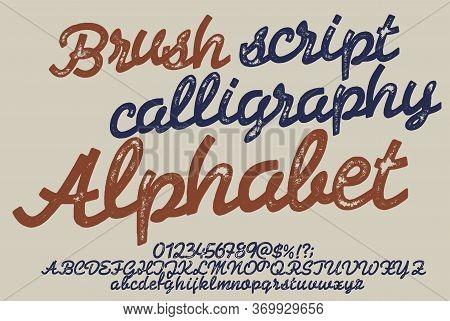 Vintage Brush Script Lettering Font, Handwritten Calligraphic Alphabet. Textured Unique Brush In Alp