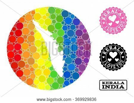 Vector Mosaic Lgbt Map Of Kerala State From Round Elements, And Love Grunge Seal. Hole Round Map Of