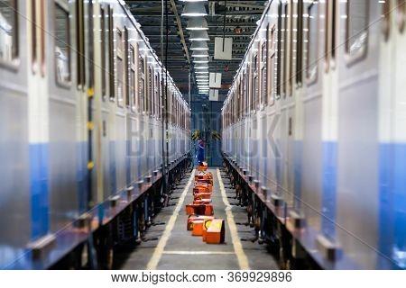 Subway train service at the depot