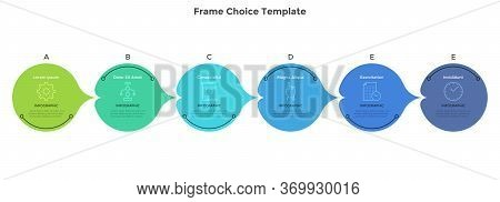 Six Circular Pointer-like Elements Placed In Horizontal Row. Concept Of 6 Successive Steps Of Busine