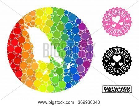 Vector Mosaic Lgbt Map Of Koh Chang With Circle Elements, And Love Grunge Seal Stamp. Subtraction Ci