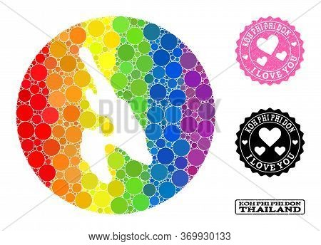 Vector Mosaic Lgbt Map Of Koh Phi Don Of Round Elements, And Love Grunge Stamp. Subtraction Round Ma