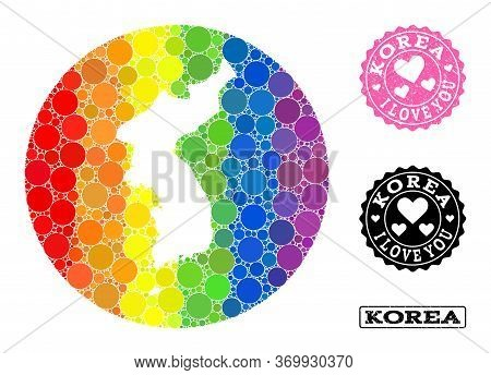 Vector Mosaic Lgbt Map Of Korea From Round Blots, And Love Rubber Stamp. Stencil Round Map Of Korea