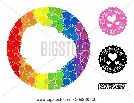 Vector Mosaic Lgbt Map Of La Gomera Island With Spheric Dots, And Love Watermark Stamp. Hole Circle
