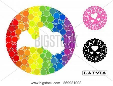 Vector Mosaic Lgbt Map Of Latvia With Round Blots, And Love Scratched Seal. Stencil Round Map Of Lat