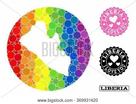 Vector Mosaic Lgbt Map Of Liberia With Round Items, And Love Grunge Seal Stamp. Hole Round Map Of Li