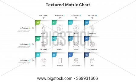 Textured Matrix Chart With 12 Square Cells With Coordinates Arranged In Rows And Columns. Table With