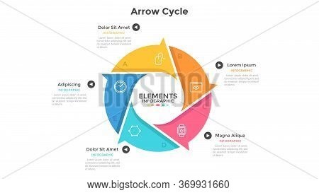 Round Cyclic Chart With 5 Colorful Arrow Elements. Concept Of Five Steps Or Stages Of Production Cyc