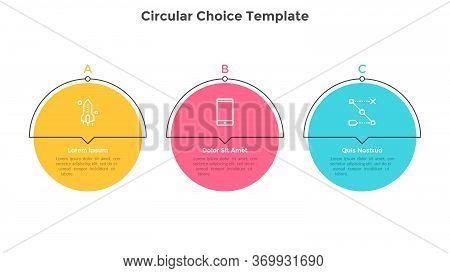 Three Colorful Round Elements Placed In Horizontal Row. Chart Representing 3 Milestones Of Business