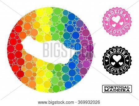 Vector Mosaic Lgbt Map Of Madeira Island With Circle Blots, And Love Rubber Seal Stamp. Subtraction